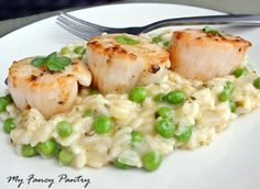 Pan seared #scallops with sweet pea, tarragon & lemon risotto: http ...