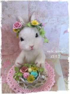 Lovely bunny - could do without all the flowers but this bunny's face is irresistible ...
