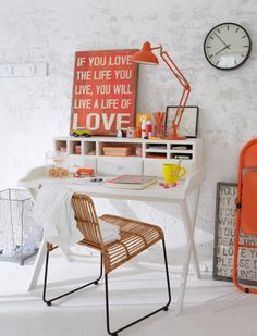 Touche de orange déco de bureau 79 Ideas