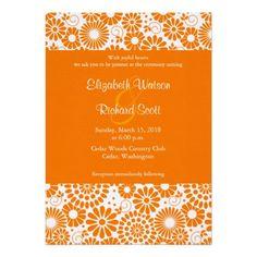 Vintage floral orange wedding invitation