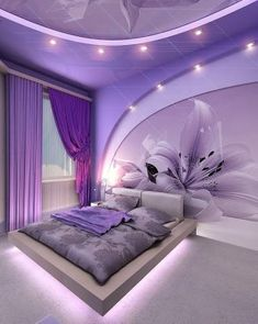 This is a Bedroom Interior Design Ideas. House is a private bedroom and is usually hidden from our guests. Much of our bedroom … Purple Master Bedroom, Purple Bedrooms, Modern Bedroom, Bedroom Romantic, Purple Bedroom Decor, Awesome Bedrooms, Cool Rooms, Beautiful Bedrooms, Bedroom Bed Design