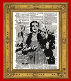 Judy Garland as Dorothy Gale from the 1939 classic movie The Wizard of Oz. Now you can have her to hang on your wall with this fabulous altered dictionary book page.    YOU WILL RECEIVE A PRINT ONLY. NO FRAME OR MAT IS INCLUDED.    This listing is for an amazing image printed on an upcycled vinta...