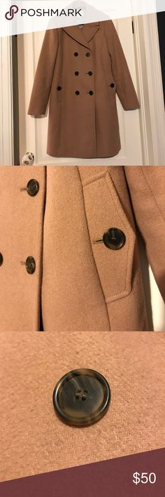 Charming LOFT wool longer pea coat camel Summer is great, but I'm already ready for fall! ☕️ I wore this charming LOFT coat gently for one season and cared for it conscientiously. Its a great wool blend peacoat with classic styling.  Knee length on me (I'm 5'5). Amazing quality and very easy to wear with a variety of looks. Very subtle signs of wear. Nonsmoking home. I love offers! LOFT Jackets & Coats Pea Coats