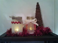 Snowy Christmas Mason Jar Luminaries by CrossroadCraftCo on Etsy Christmas Mason Jars, Christmas Ornaments, Snow Globes, Holiday Decor, Unique Jewelry, Handmade Gifts, Etsy, Kid Craft Gifts, Christmas Jewelry