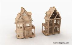 Gh 3d Puzzle Laser Plan Doll House Pattern Cnc Router Dxf Dollhouse Scrollsaw