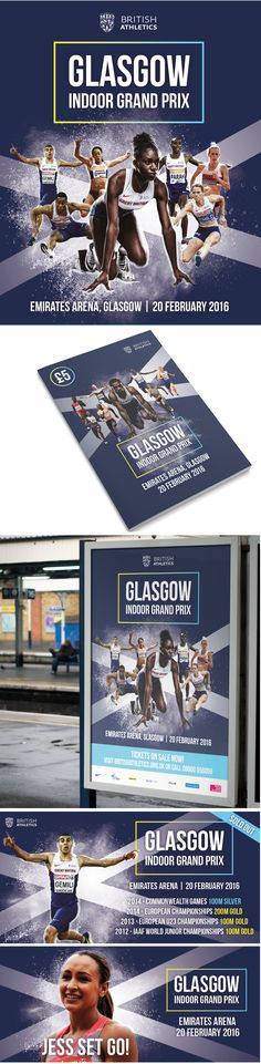 Poster and event guide for the British Athletics indoor season. Promoting the Indoor Grand Prix 2016 in Glasgow, Emirates Arena Event Guide, Athletics, Glasgow, Case Study, Grand Prix, British, Indoor, Social Media, Creative