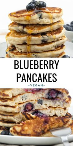 Vegan Blueberry Pancakes - I don t think there is anything better than a stack of fluffy vegan blueberry pancakes for breakfast on weekends They are super quick easy to make - done in 30 minutes vegan pancakes breakfast Pancake Healthy, Vegan Pancake Recipes, Vegan Pancakes, Breakfast Pancakes, Vegan Foods, Vegan Dishes, Vegan Desserts, Baby Food Recipes, Vegetarian Recipes
