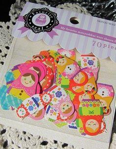70small sticker flakes Russian Matryoshka dolls; Favorite Seal Matryoshka 70 stickers Mind Way Japan