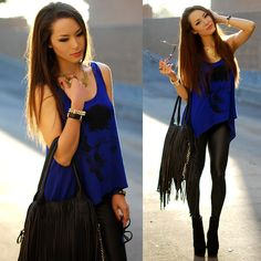 Oohlaluxe  Blue Skull Tank, Mimi Boutique Fringe Bag, Daily Look Faux Leather Leggings, Rings And Tings Victorian Necklace, Black Boots