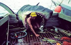 On the set of Jaws (1975) #movies #jaws #set