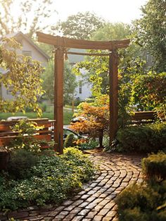 Arbor Idea, hard scape completes and compliments plantings.