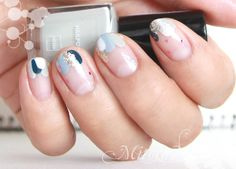 Three colour French tip in abstract white, blue, pink and glitter #nailart #frenchnails Source
