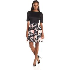 Julian Taylor Women's 2fer Fit and Flare Floral Print Dress ($49) ❤ liked on Polyvore featuring dresses, kohl dresses, floral dress, half sleeve dress, black dress and floral print fit and flare dress