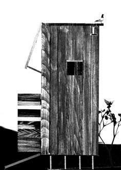 Tall Shed -- 2012/14 11.7″ X 16.5″ Wooden model, black and white scan, digital collage -- 127-Jonas Larsen-04 -- http://www.jonasguneriuslarsen.com/