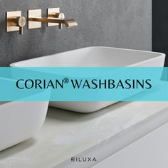 Considering a bathroom sink in Corian®? Maybe even a bespoke washbasin, made especially for you in Corian®? This board is packed full of bathroom ideas, with single and double Corian® sinks, vanity tops, wall-mounted sinks and countertop sinks. As well as the ever-popular Glacier White, we've gathered plenty of inspiration from the vast range of Corian® colours sinks. Corian Sink, Sink Countertop, Countertops, Corian Colors, Wall Mounted Sink, Vanity Tops, Sink In, Bath Mat, Bespoke