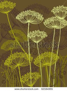 stock vector : wild flowers silhouette and lizard, outline styled