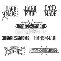 Set of vintage retro handmade badges, labels and logo elements, retro symbols for local sewing shop, knit club, handmade artist or knitwear company. Template logo. Vector. — Illustration #70174287