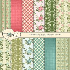 Digital Scrapbook Paper  Vintage Floral Dot Plaid and by ToutAimee $6.39