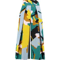 Milly Pleated printed stretch cotton-twill culottes (£130) ❤ liked on Polyvore featuring pants, capris, bottoms, trousers, green, twill trousers, multi color pants, milly pants, colorful pants and multi colored pants
