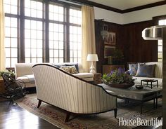 dark trim and floors, light walls and upholstery