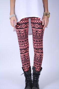 Salmon Ethnic Printed Leggings-I'm getting some crazy leggings for the fall...