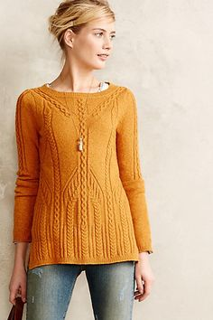 Love the different details on this sweater that make a solid color a lot more interesting! Cablerun Pullover - anthropologie.com
