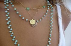 turquoise and gold. love the combo and the layered look.