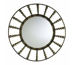 Beady Round Rustic Gold Mirror - This Cyan Design bead burst mirror is elegant, quirky, innovative and rich in aesthetic value. The design gets its name from the burst of beads emanating out from the central circular mirror.