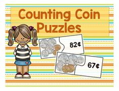 This is a set of 20 interlocking puzzle pairs that ask students to count mixed coins and match the answer to the correct numeral. Students will count pennies, dimes, nickels, and quarters to reach amounts less than one dollar.  This is great activity for independent practice or small group support.