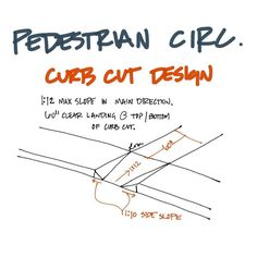 When a ramp meets a sidewalk edge, a curb cut happens. Architecture Drawings, School Architecture, Bubble Diagram Architecture, Architecture Diagrams, Sidewalk Edging, Site Plan Design, Site Analysis, Parking Design, Garage Design