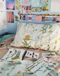 #pastel #pastels #interiordecorating #interiordesign #bedsheets #floral #ikea #cute #blue #pressedflowers #journals #journalideas