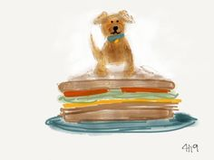 Last night I dreamt that I had a tiny puppy that lived on a sandwich (obviously). This morning I sketched it.