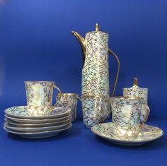 KROKUS, serwis kawowy, porcelana Ćmielów, proj. Wincenty Potacki