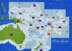 Map of Oceania with flags. Pacific Map, South Pacific, Pacific Ocean, Tonga, Vanuatu, Wallis, United Nations Peacekeeping, Life Map, Federated States Of Micronesia