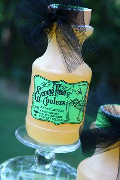 Halloween labels and embellishments on juice bottles