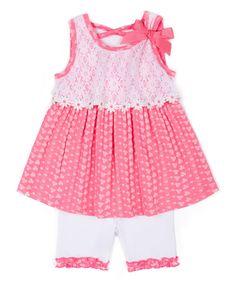 Fuchsia & White Floral Tank & Bike Shorts - Infant & Toddler