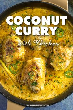Coconut Curry with Chicken Coconut Curry with Chicken Try this coconut curry recipe with chicken thighs that are seared then braised in a flavorful sauce made with curry spices and coconut milk. Chicken Thights Recipes, Low Carb Chicken Recipes, Spicy Recipes, Curry Recipes, Healthy Dinner Recipes, Cooking Recipes, Pepper Recipes, Coconut Curry Sauce, Coconut Curry Chicken