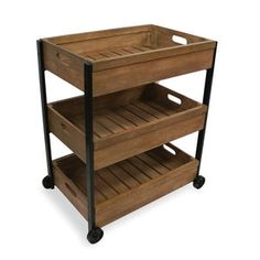 Industrial Vintage Vegetable Storage Cart On Wheels - shelves