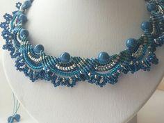 Blue micromacrame necklace Macramya by Macramya on Etsy