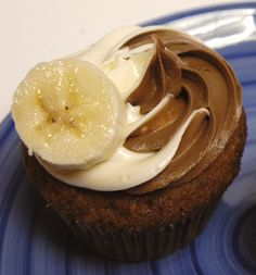 Fresh baked banoffee cupcake, banana cake, caramel filling and cream ...