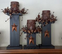 Primitive Candle Stick Holders by HouseholdPrimitives on Etsy, $45.00