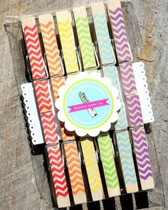 Rainbow Chevron Wooden Clothespin by thebakersconfections, $9.49