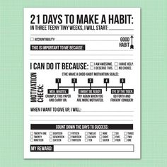 21 days to make a good habit printable pdf sheet by microdesign, $7.00