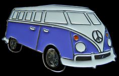 PURPLE VAN HIPPIE CAMPER MOTORHOME PEACE BELT BUCKLE