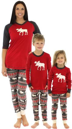 44d95900ebec Lazy One Family Matching Moose Fair Isle Pajamas ad Family Holiday Pajamas