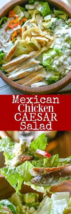 This Mexican Chicken Caesar Salad is a crisp, refreshing dinner. Chopped romaine lettuce and chunks of grilled chicken are tossed in a creamy, herbed ranch dressing. Studded with fresh pepper rings, crunchy pepitas, and crumbled cojita cheese, it's a fresh, Tex Mex spin on an old favorite.