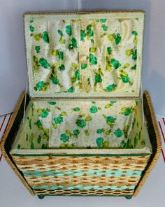 Vintage Wicker-Rattan Sewing Basket Box-Satin Lined-Green