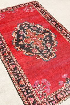 1880's Antique Red Persian Heriz Rug from Woven in Vintage