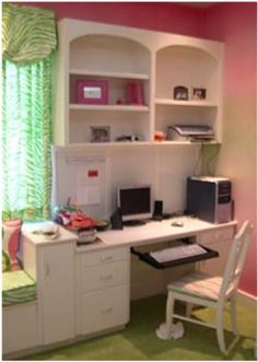 Another option would be to incorporate a built in desk & and window seat. :)