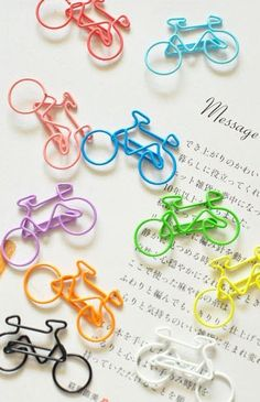 5 PCS Paper Clips Bike Shaped Metal Bookmarks Cute by 2to2lm, $2.50